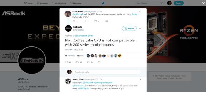 C'est via son compte Twitter qu'Asrock a révélé que les puces Coffee Lake ne serait pas compatible avec les chipset de série 200.